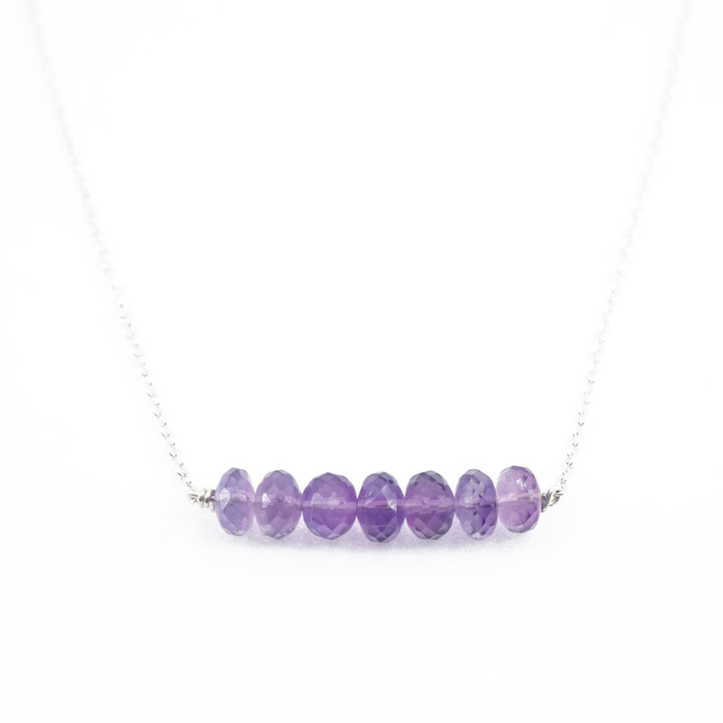 Amethyst Beaded Bar Necklace