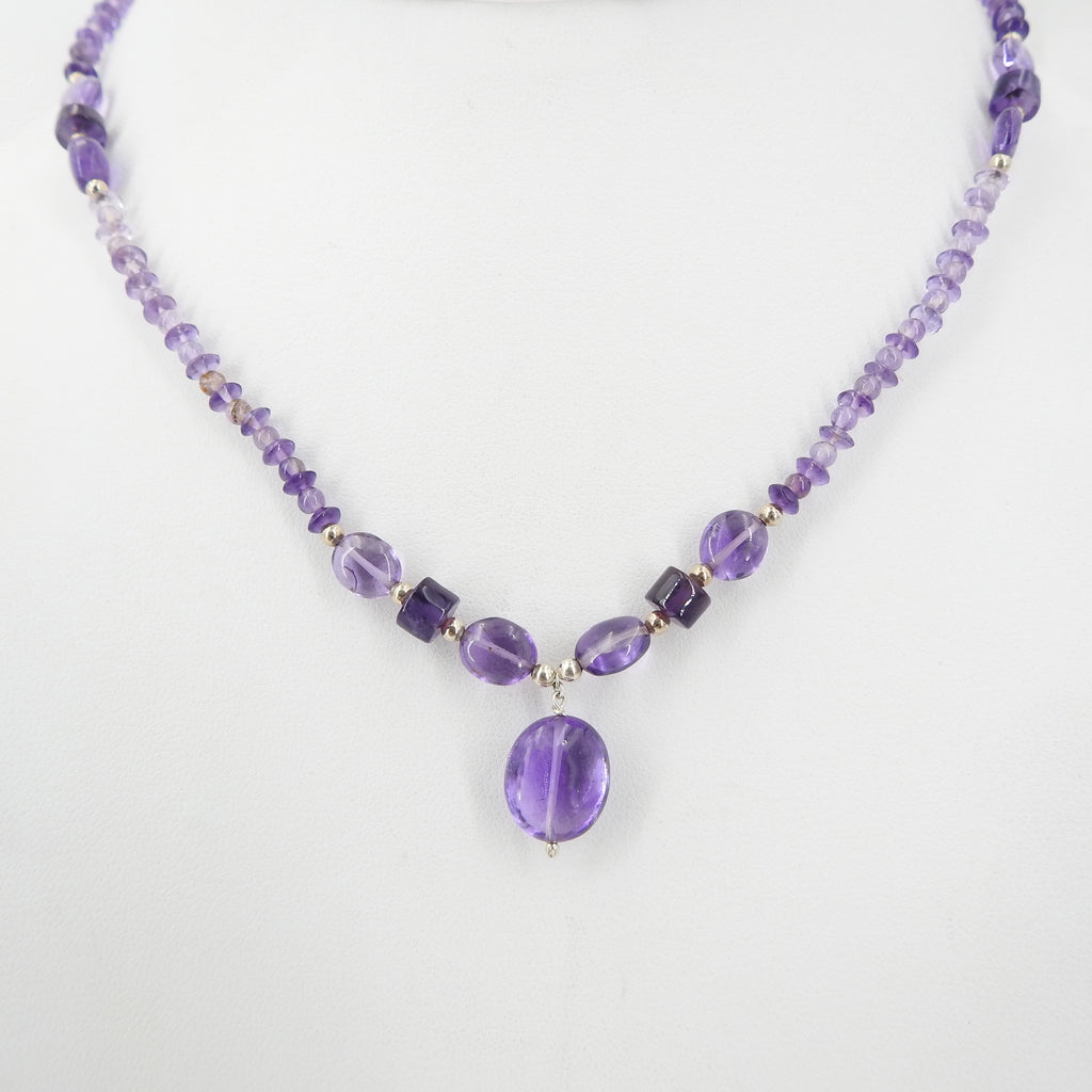 Amethyst Beaded Necklace w/ Sterling Silver