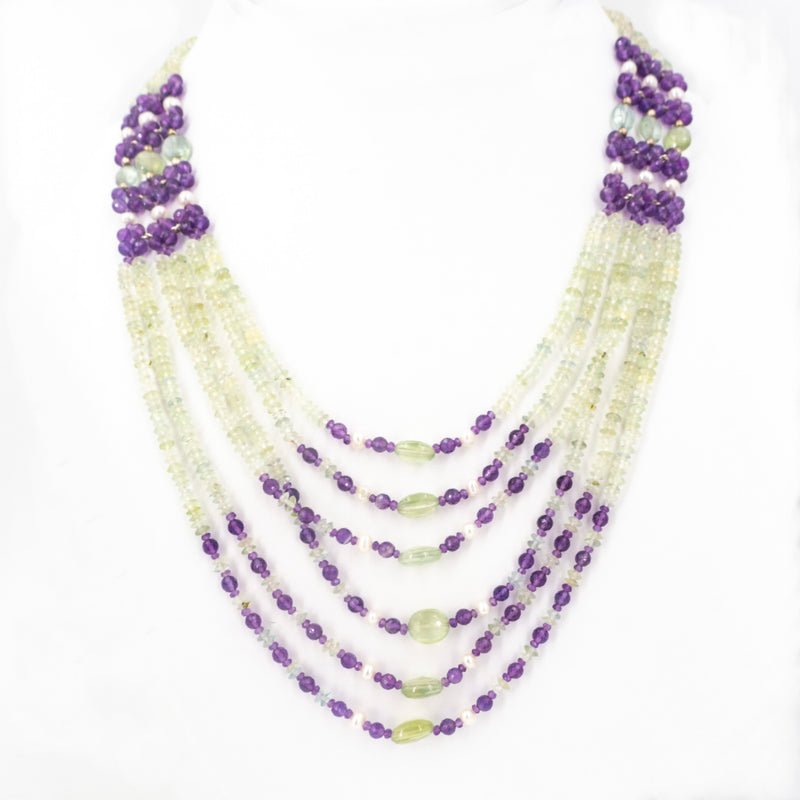 S/S Amethyst Pearl Peridot Necklace