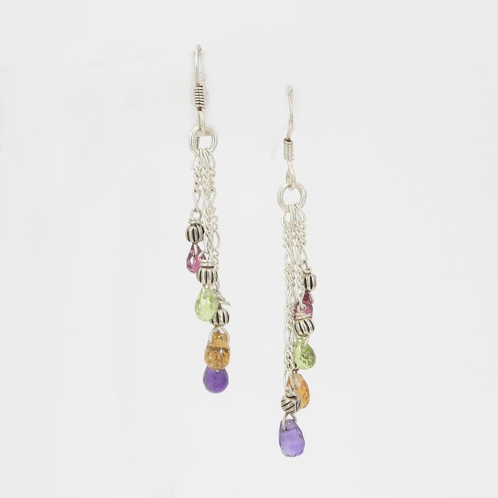 Sterling Silver Chain Earrings w/ Mixed Gemstones