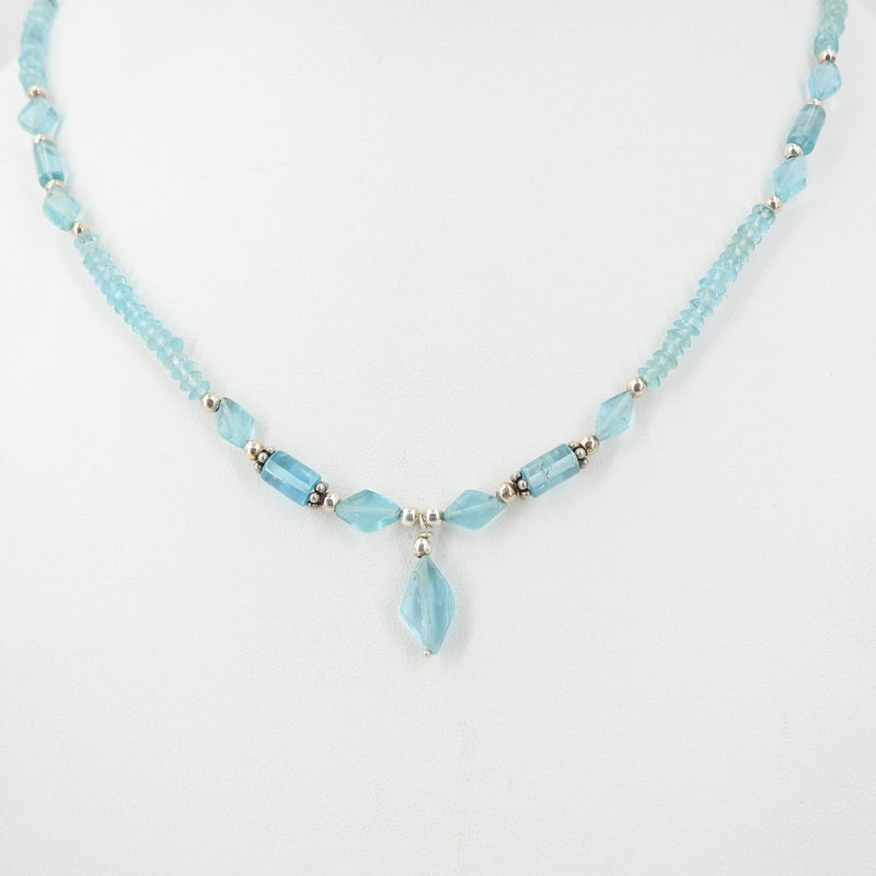 Blue Topaz Beaded Necklace w/ Sterling Silver