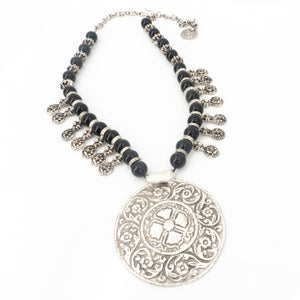 Pewter Necklace W Beads