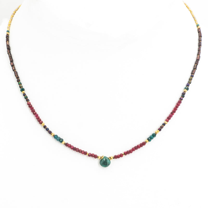 18KT Vermeil Emerald Ruby Necklace
