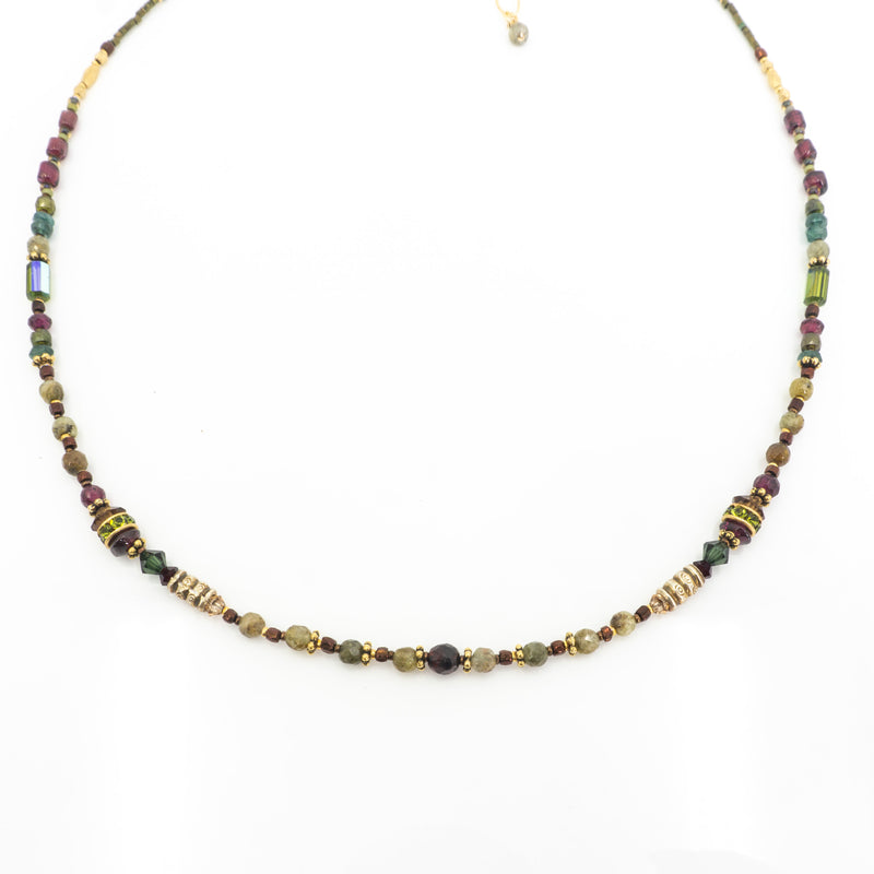 18K Vermeil Garnet Apatite Necklace