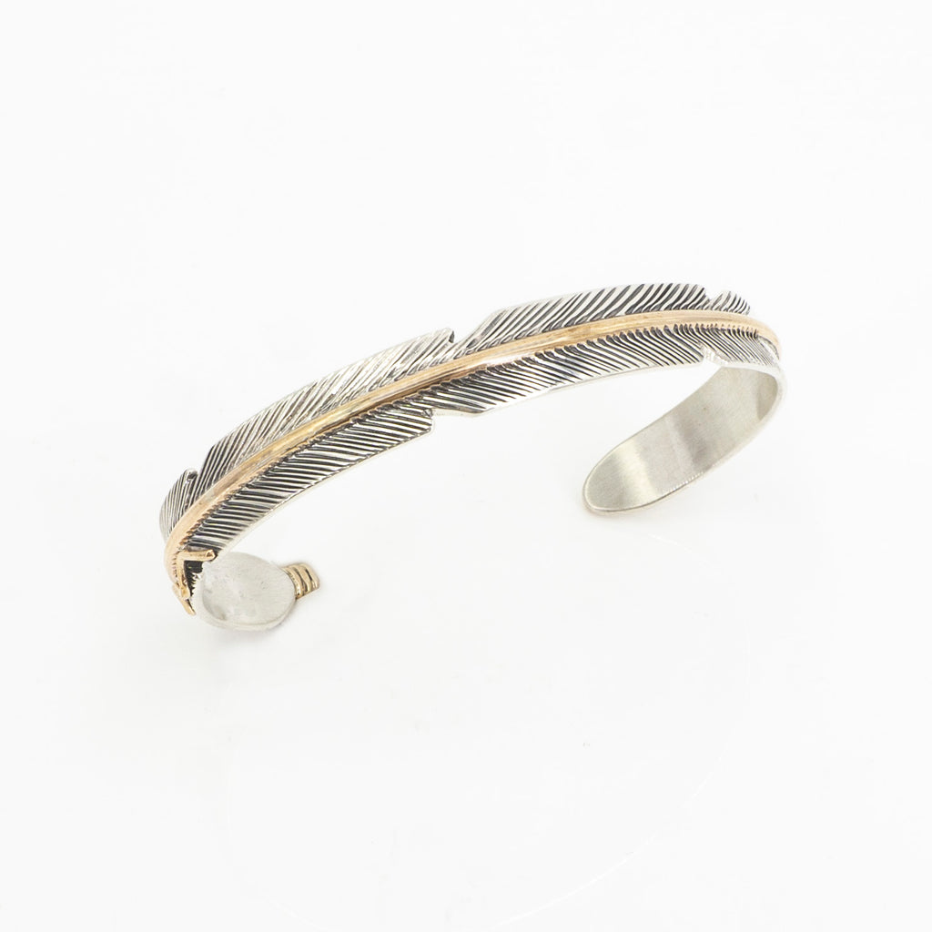 S/S Feather Cuff W 12KT GF Accents