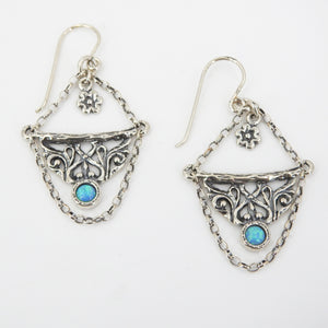 Sterling Silver Created Opal & Chain Earrings
