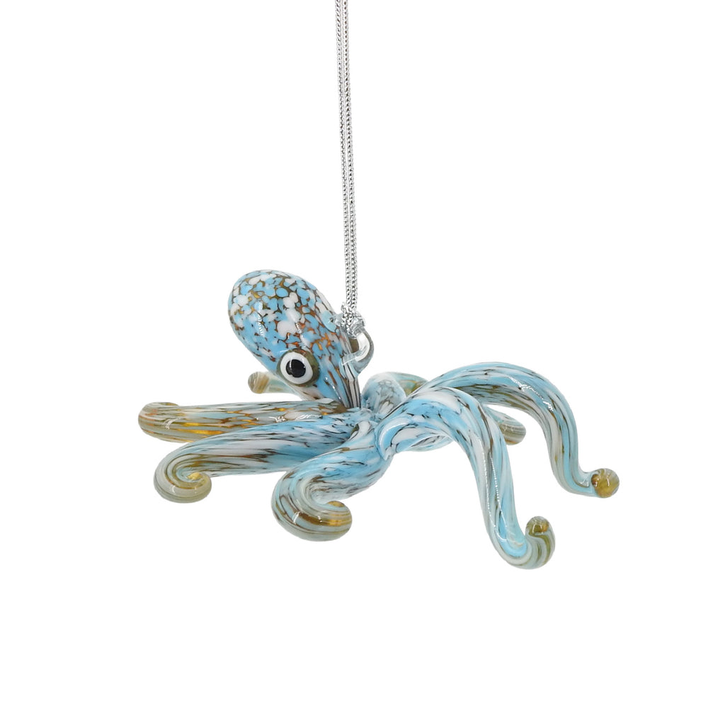 Blue Glass Octopus Ornament