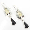S/S Fossilized Ivory and Onyx Earring