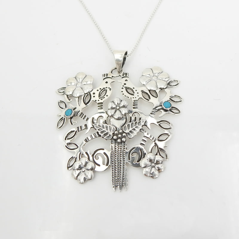 Sterling Silver Tree W Birds Turquoise Pendant