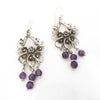 S/S Kissing Dove Flower Amethyst Earring