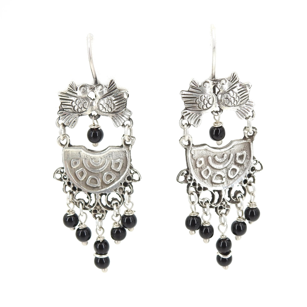 Sterling Silver Love Birds w/ Onyx Beads