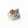 S/S Bee Ring W Amber SZ 9
