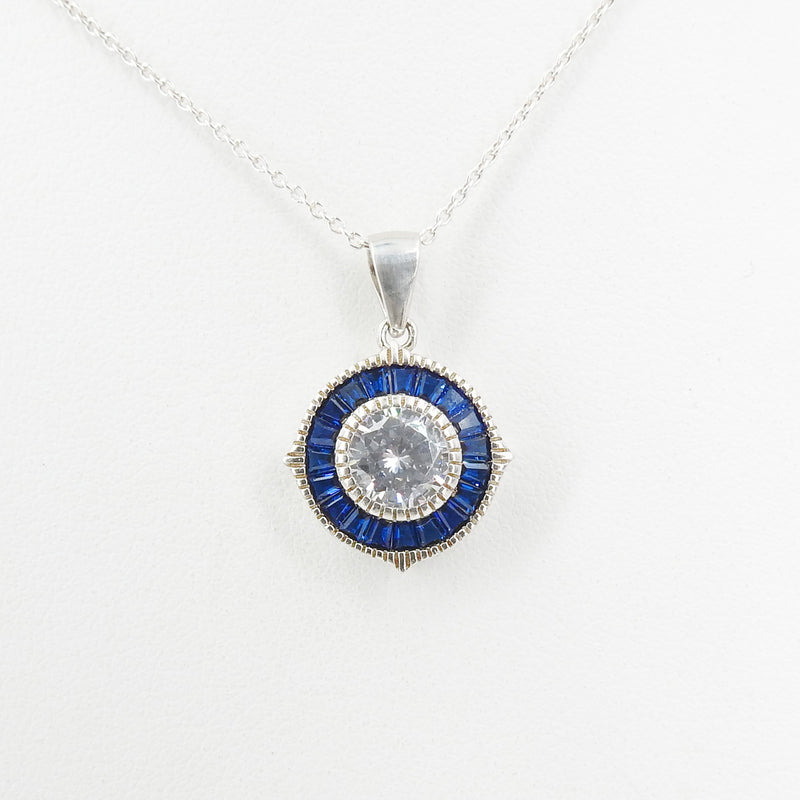 Sterling Silver CZ & Created Sapphire Pendant