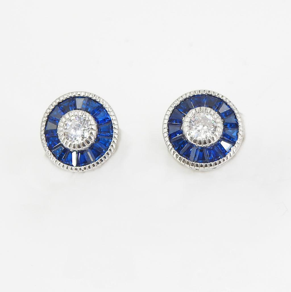 Sterling Silver CZ & Created Sapphire Stud Earrings