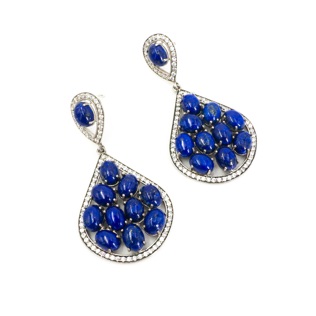 S/S Lapis CZ Earrings