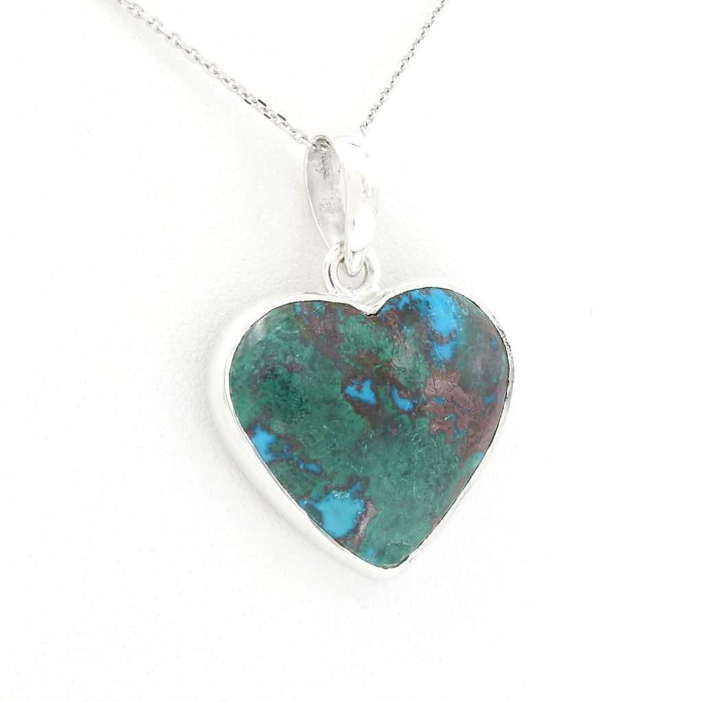 Sterling Silver Chrysocolla Heart Pendant