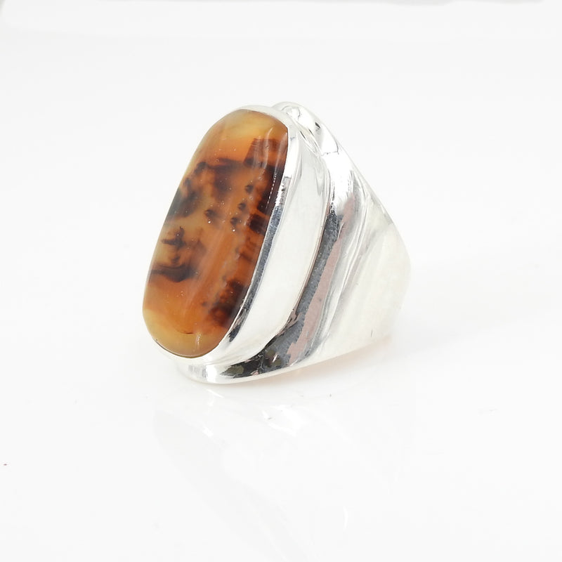 Sterling Silver Montanz Agate Ring Size 8