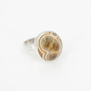 S/S Yellow Eye Agate Ring Size 9