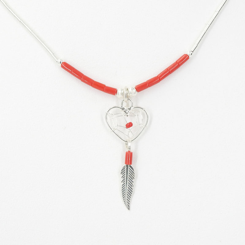 Sterling Silver Heart Dreamcatcher & Feather Necklace