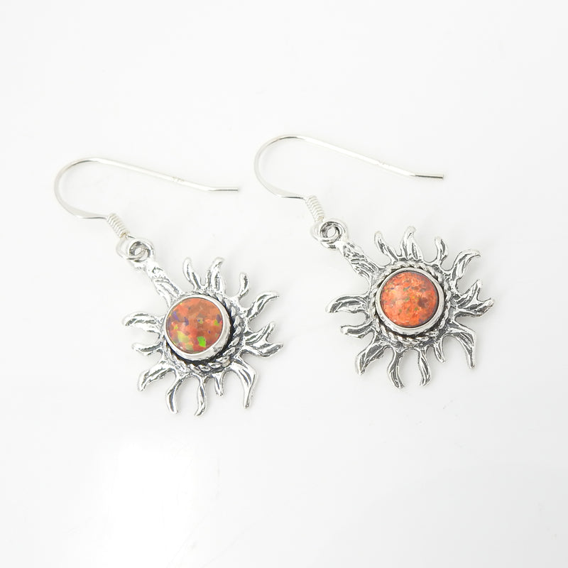 Sterling Silver Created Opal Sun Earrings