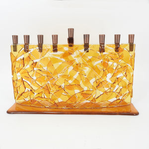 Blue Glass Arc Menorah