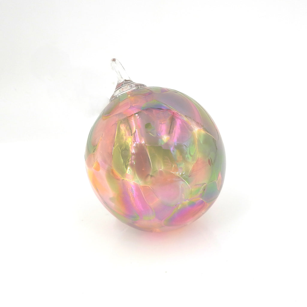 Pink & Green Glass Ornament