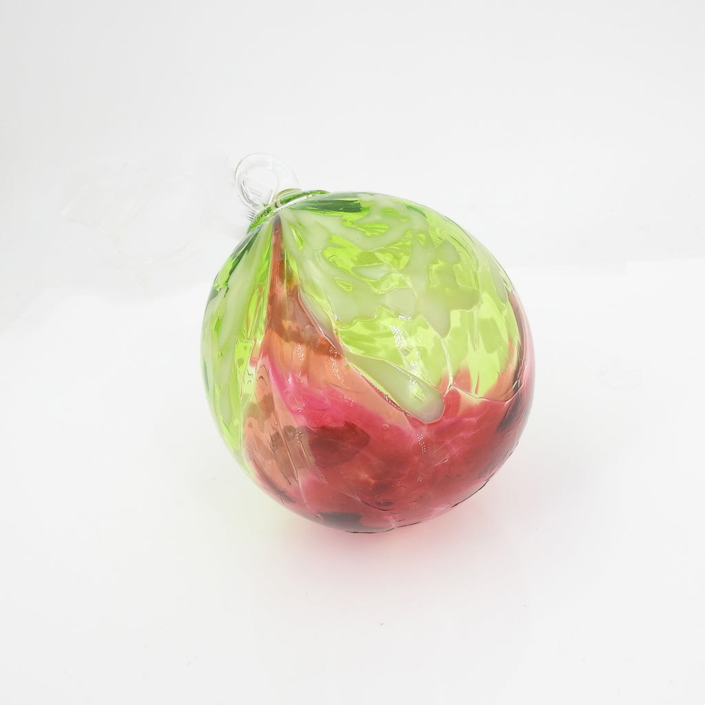 Green & Red Glass Ornament