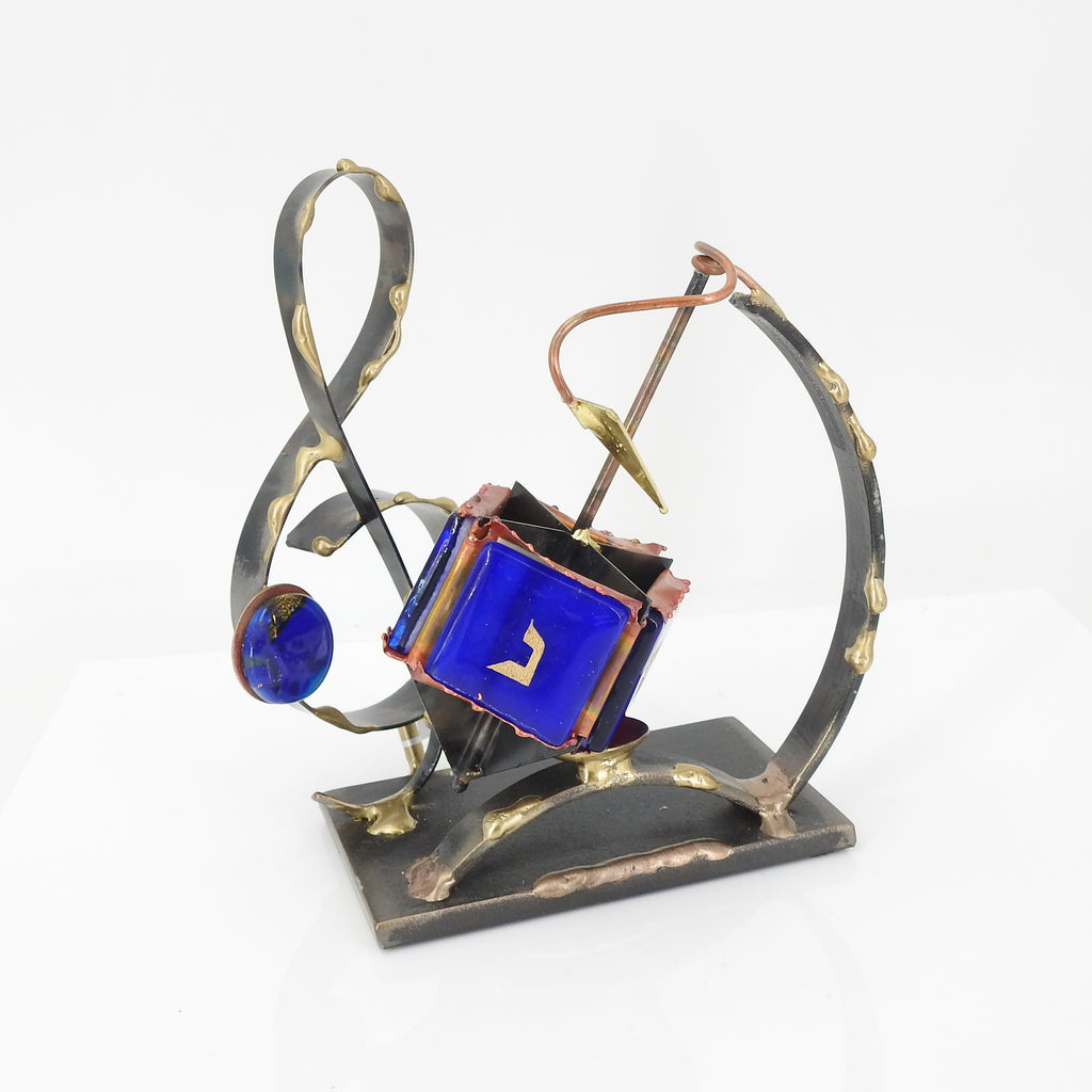 Musical Dreidel Brass and Glass