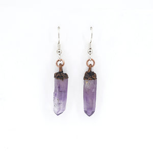 Raw Amethyst Earrings