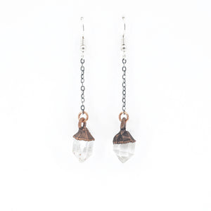 Raw Quartz Crystal Dangle Earrings