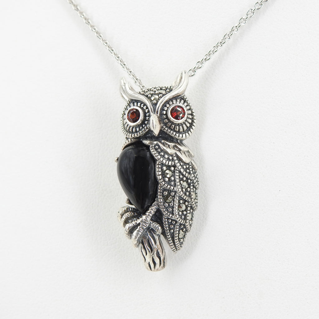 Sterling Silver Marcasite & Onyx Owl Pin / Pendant