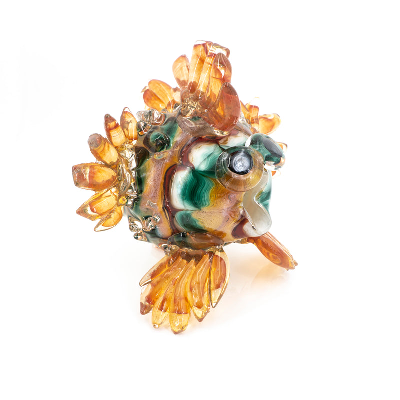 Art Glass Puffer Fish Peach