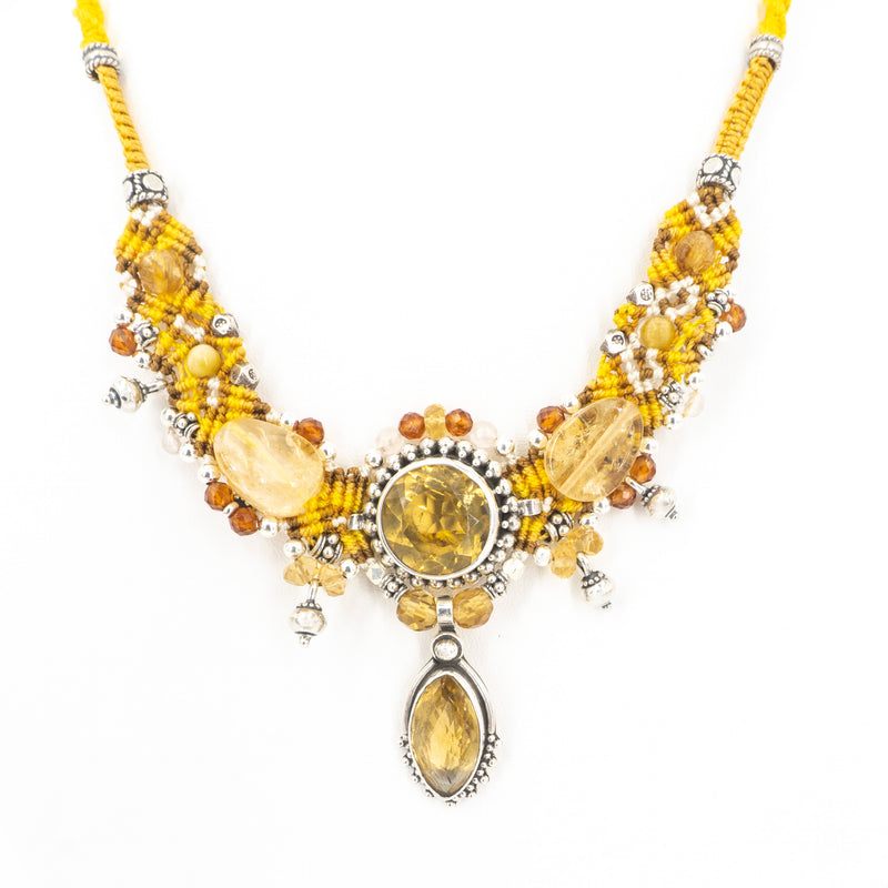 S/S Citrine W Mixed Beads Necklace