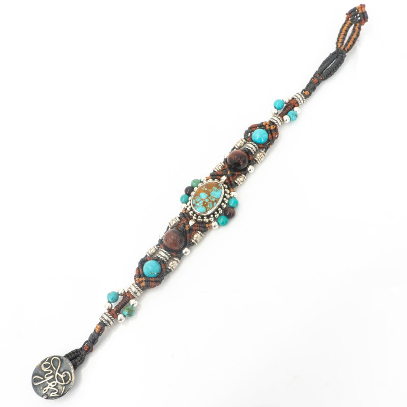 Sterling Silver Turquoise Tigers Eye Bead Bracelet by Isha Elafi