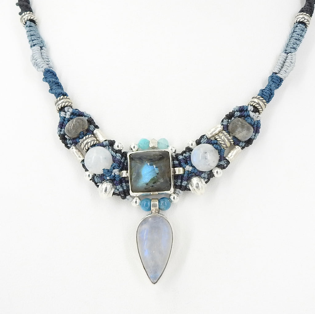 Isha Elafi Labradorite & Moonstone Nomadic Knot Work Necklace