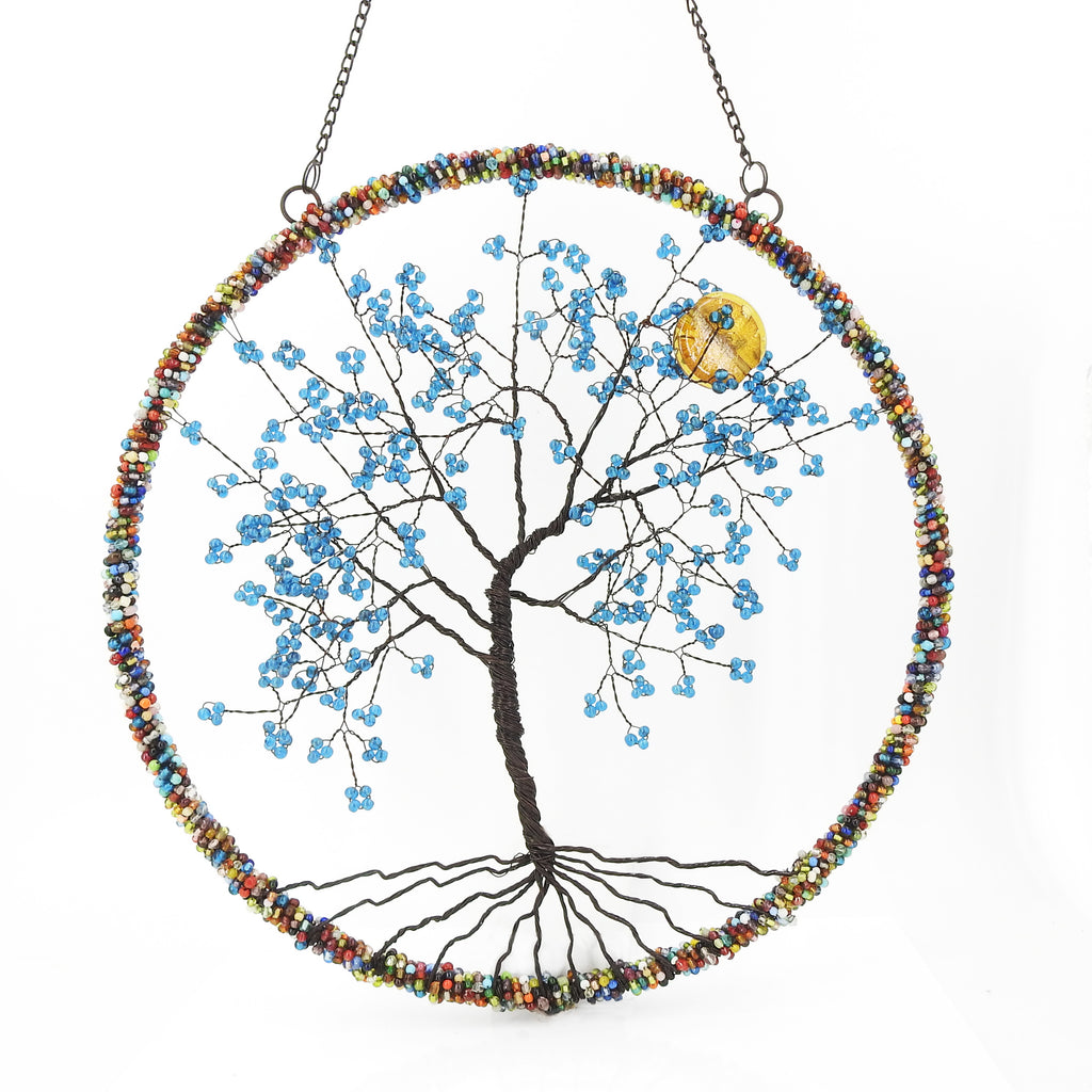 Beaded Tree of Life Wall Hanging w/ Moon