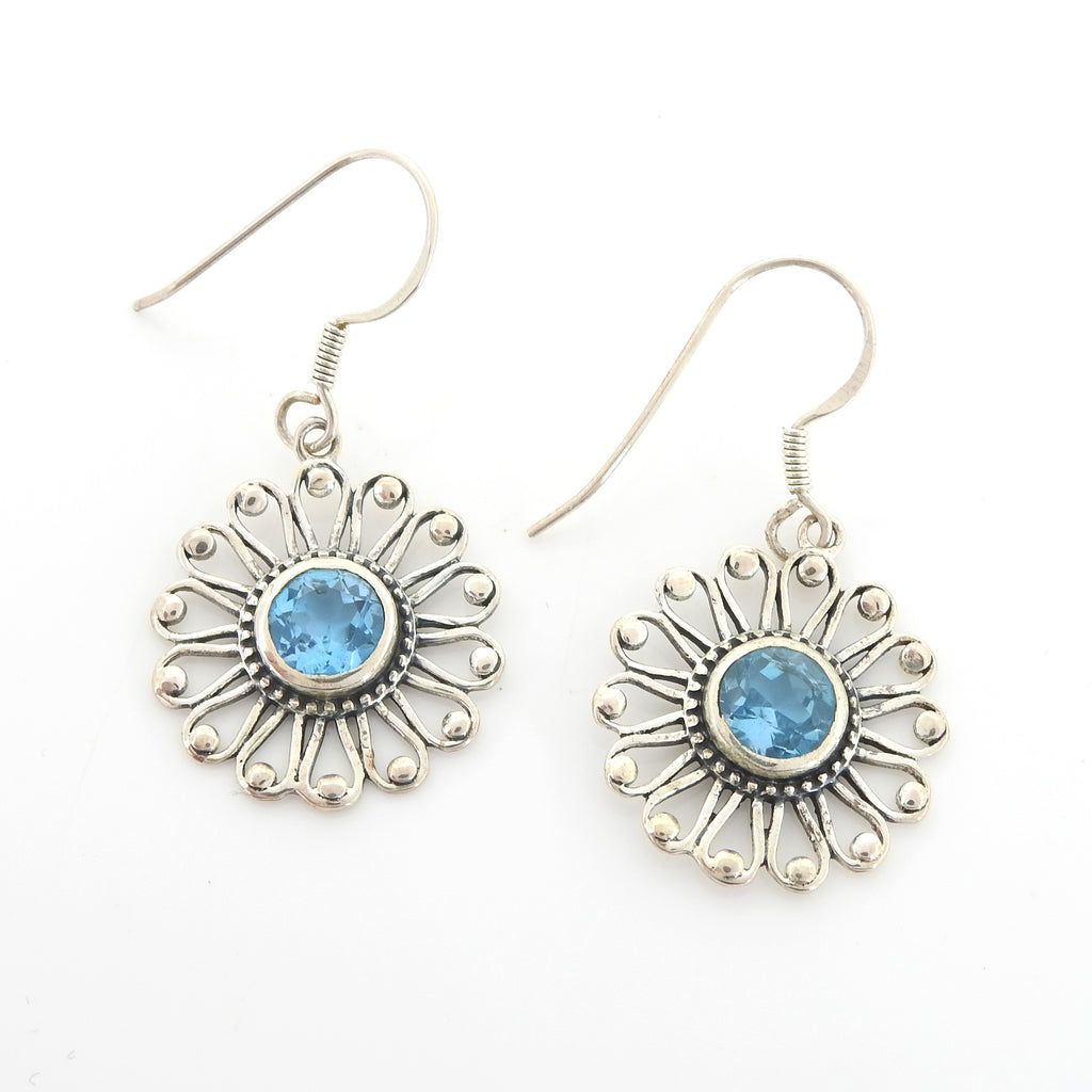 Sterling Silver Blue Topaz Sun Earrings