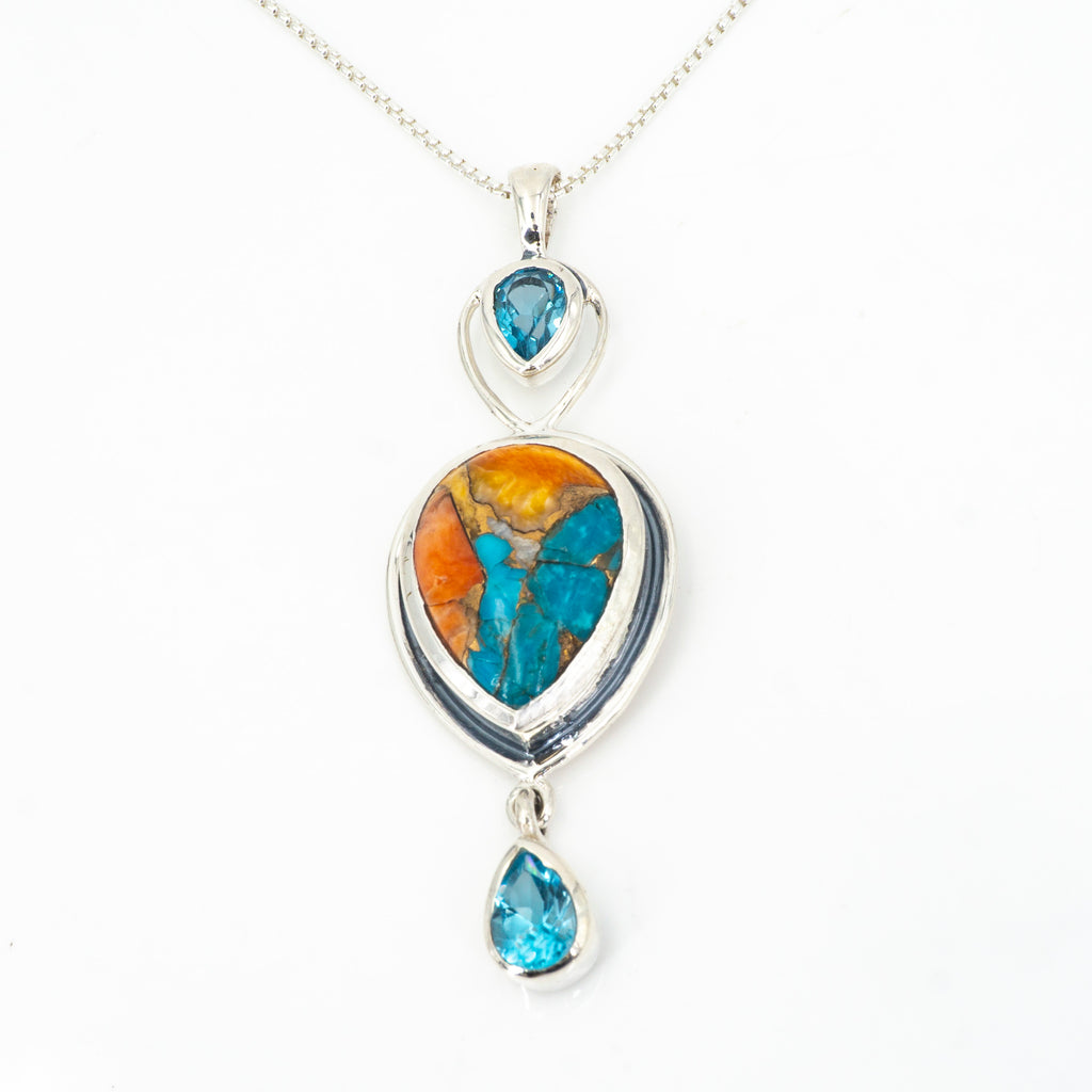 S/S Blue Topaz Turquoise Oyster Pendant