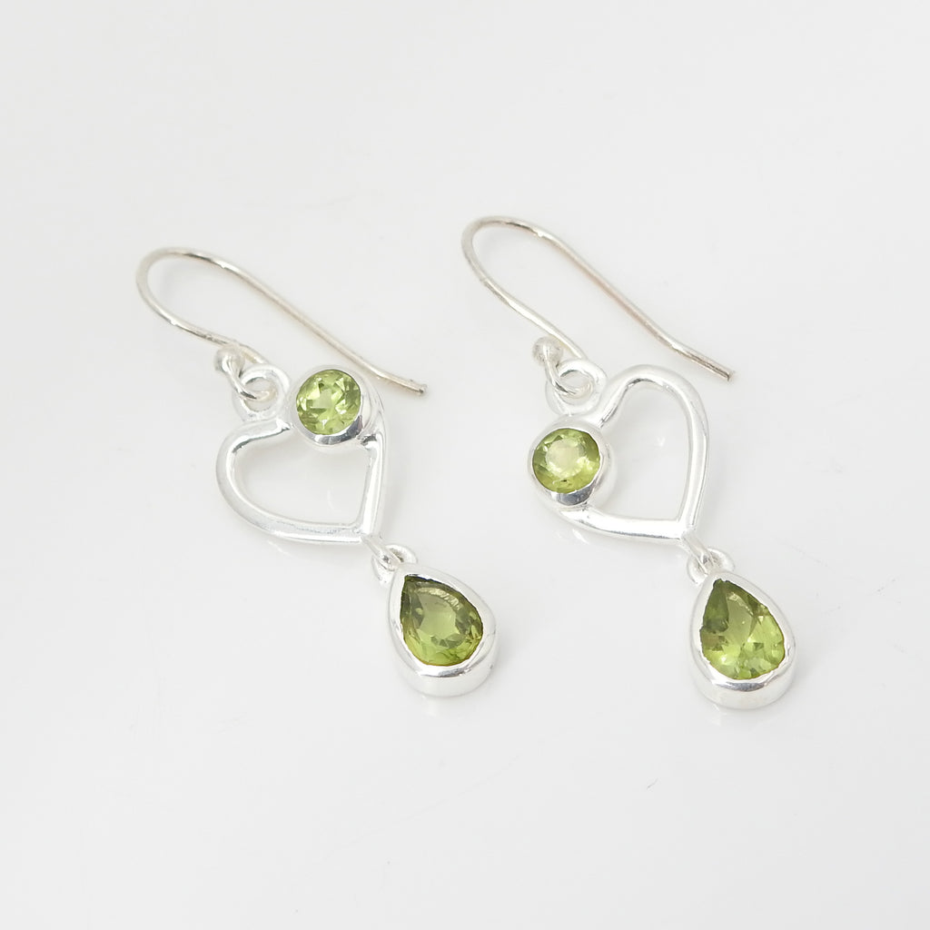 Sterling Silver Peridot Heart Earring