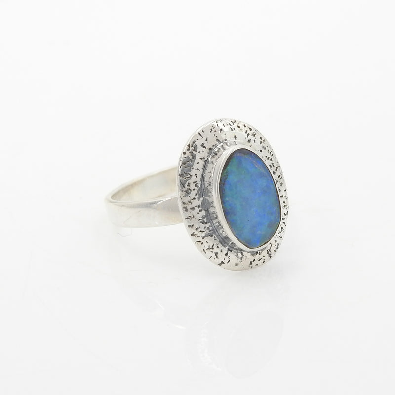 Sterling Silver Created Opal Ring SZ 9