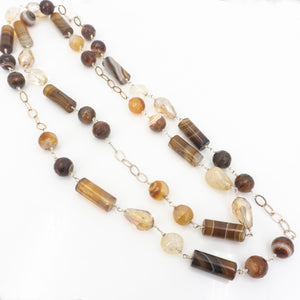 S/S Crystal & Agate Necklace