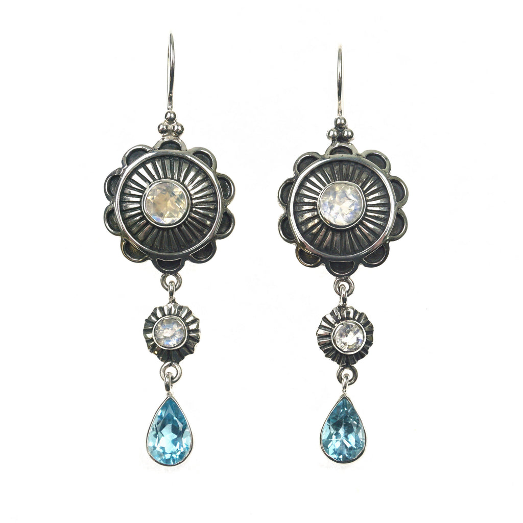 Moonstone Flower & Blue Topaz Earrings
