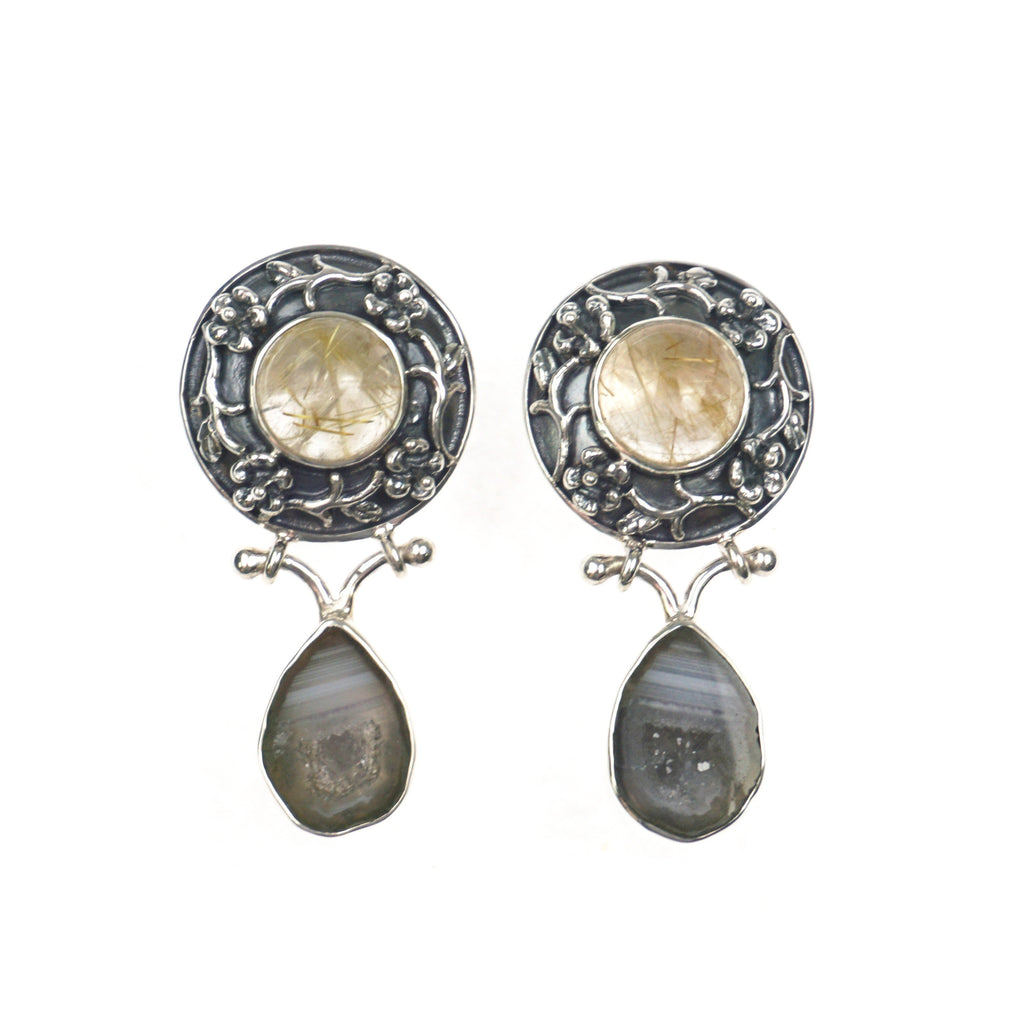 Rutilated Quartz & Agate Earrings
