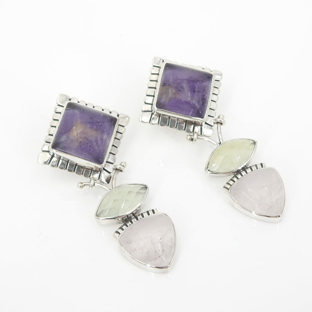 Sterling Silver Amethyst Prunite & Rose Quartz Earrings
