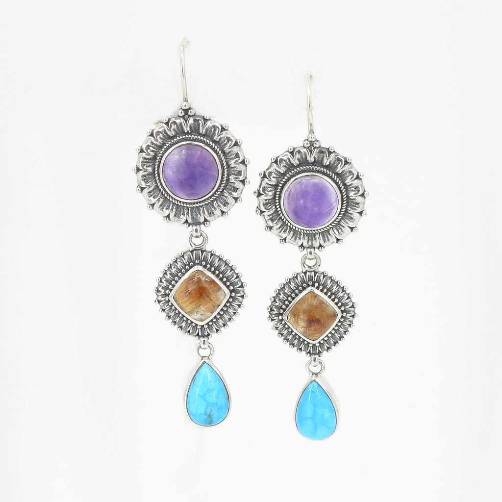 Sterling Silver Amethyst Rutilated Quartz & Turquoise Earrings