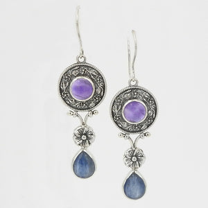 Sterling Silver Amethyst & Kyanite Earrings