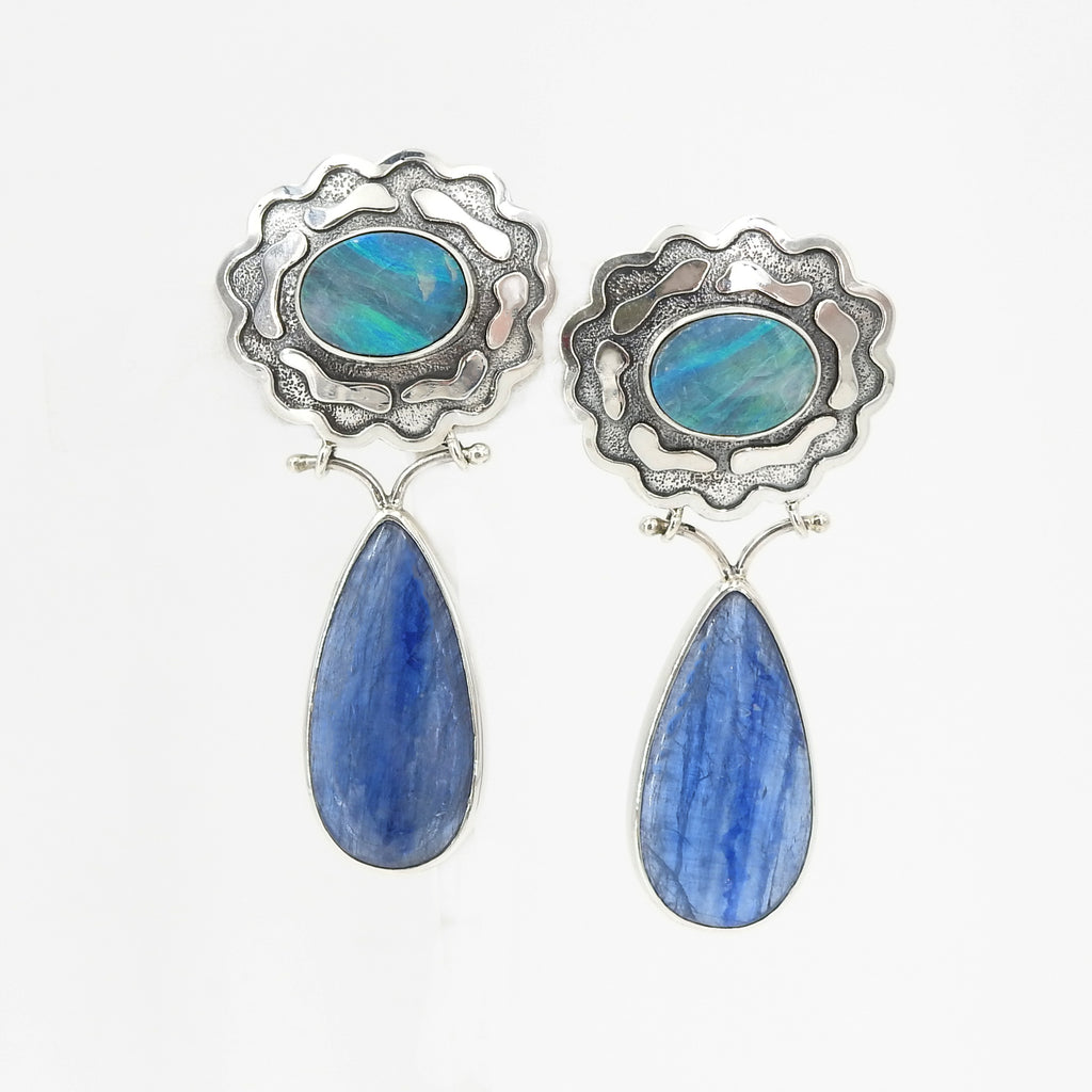 Sterling Silver Opal and Kyanite Earrings