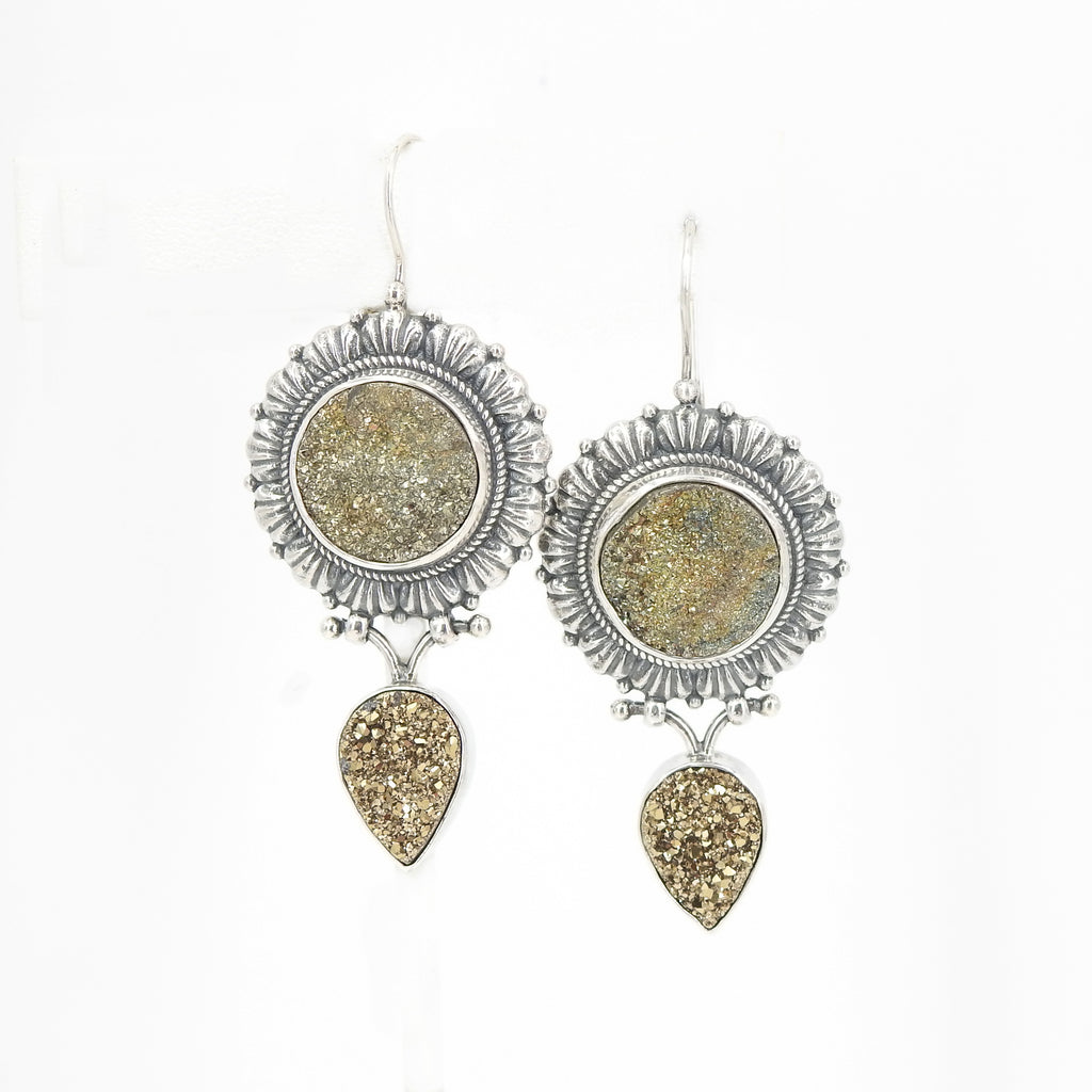 Sterling Silver Gold Druzy Earrings