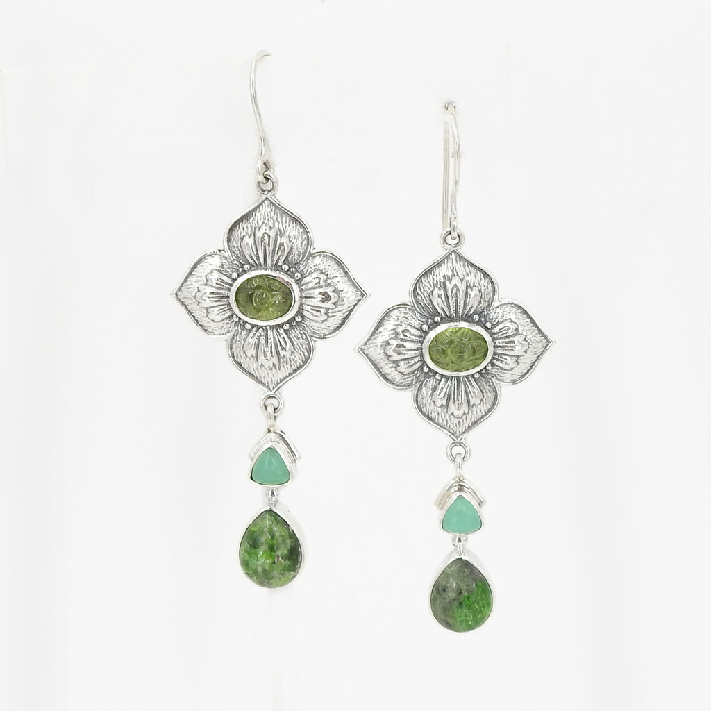 Sterling Silver Flower With Peridot Chrysoprase & Turquoise Earrings