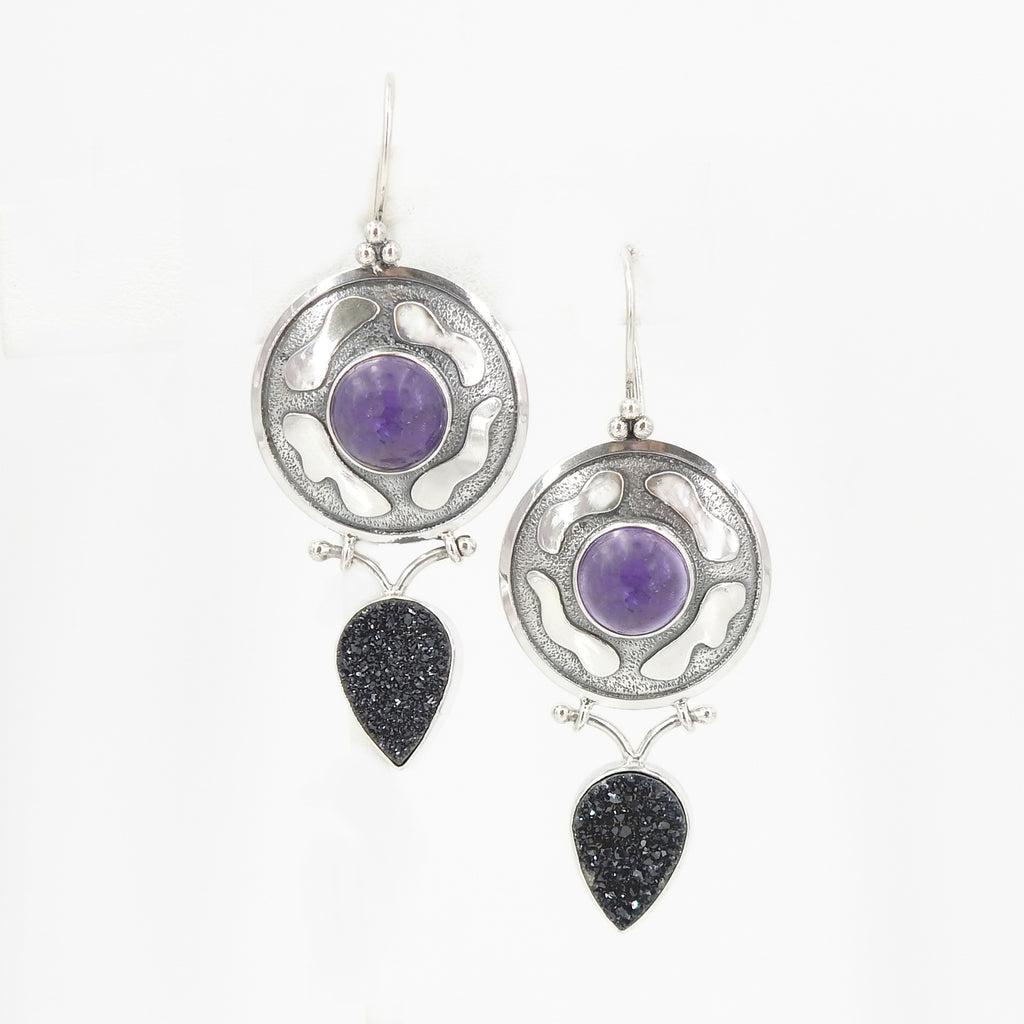 Sterling Silver Amethyst & Black Druzy Earrings